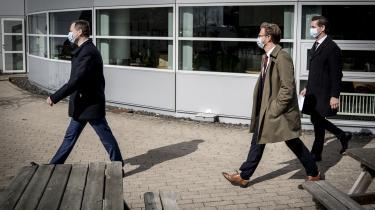 Finansminister Nicolai Wammen, transportminister Benny Engelbrecht og indenrigs- og boligministr Kaare Dybvad Bek præsenterede regeringens udspil til en infrastrukturplan ved Novo Nordisk afdeling i Kalundborg.