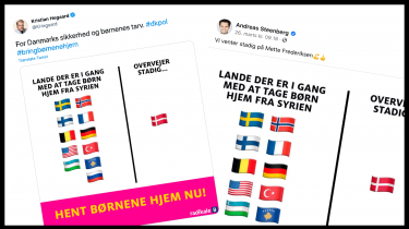 Kristian Hegaard og Andreas Steenberg fra De Radikale Venstre delte før påske dette meme på de sociale medier.