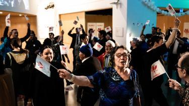 Partiet Siumut holder valgfest i Kulturhuset Katuaq i Nuuk, tirsdag den 6 april 2021.