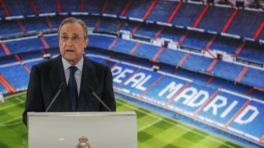 Real Madrids præsident, Florentino Pérez, er udset til at være præsident for den nye Super League, som ifølge Pérez skal redde fodbolden. Eller i hvert fald Real Madrid; årtiers umådeholdent overforbrug har udstyret klubben med en bruttogæld på mere end seks milliarder kroner og et pensionsmodent mandskab.