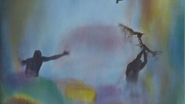 Fejrer de regnens komme, eller pisker de en skikkelse under farverne? Lærke Lautas malerier er brydningsflader i både farve og motiv.