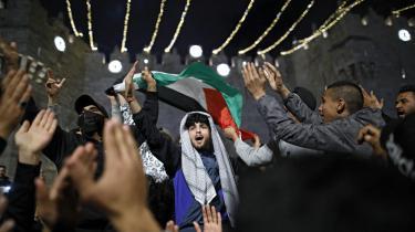 Palæstinenske demonstranter i Jerusalem i april 2021.