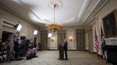 Præsident Joe Biden taler om den amerikanske genopretningsplan i Det Hvide Hus onsdag den 5. maj.
