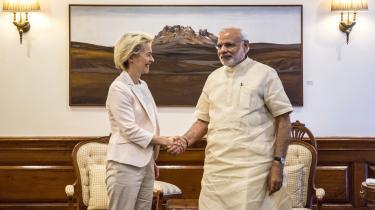 Ursula von der Leyen og Indiens Narendra Modi mødtes i maj 2015, da von der Leyen var tysk forsvarsminister.