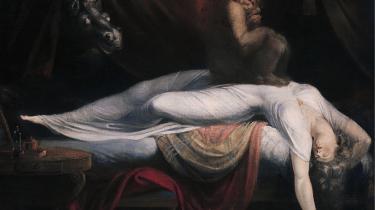 Søvn i kunsten er ikke nyt. Fra ældre kunst kender vi den sovende kvinde, som her Henry Fuselis 'The Nightmare' fra 1781. Kvinden har tæt kontakt til nattens dæmoner og er derfor i sin natur utilregnelig og djævelsk – det er én mulig læsning.