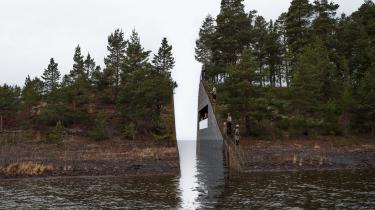 I 2014 blev denne landskabsarkitektoniske fortolkning over massakren på Utøya i 2011 valgt som officielt monoment. Men værket er endnu ikke blevet realiseret. Computergrafisk model af Jonas Dahlberg Studio.