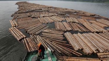 Danske virksomheder er i tvivl om, hvornår de har gjort nok for at dokumentere det importerede træ er lovligt. Billedet viser trærafter, der bliver transporteret på en flod i Sibirien i Rusland.