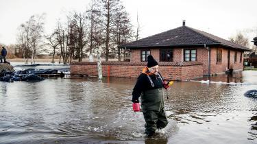 Boligkvarteret i Jyllinge Nordmark lignede et dansk Venedig efter stormfloden Bodil i 2013. Vandstanden i Roskilde Fjord nåede op på godt to meter over normalen. Foto