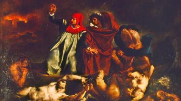 Dante og den romerske digter Virgil i helvede – maleri fra 1822 af Eugène Delacroix.