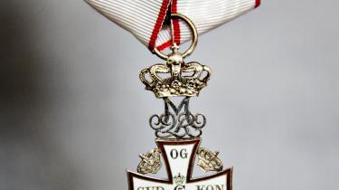 I foråret fik 49 personer en ridderorden af en eller anden grad. På billedet er det Ridderkorset af Dannebrogsordenen.