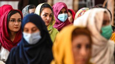 En gruppe afghanske kvinder protesterer mod brud på menneskerettighederne begået mod kvinder af det talibanske regime i Afghanistan. Fra d. 2. august 2021.