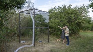 Den danske kunstner Rune Bosse har bygget deciderede fremtidskapsler i Tangskoven. Her har han isoleret fire træer i hvert sit drivhus og vil observere, hvordan de klarer sig i indelukkets varme.
