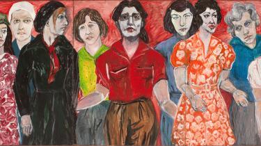 'Kvinder frem' er et af de to malerier af Ursula Reuter Christiansen, der åbner ballet i udstillingssalene.