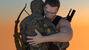 Arnold Schwarzenegger i fuld camouflage og oppustede muskler bliver sært rørende i Thilo Funders skulptur i kunsthallens forhave, hvor en lifesize Arnold, omgivet af bregner, krammer en kopi af sig selv med et sørgmodigt ømt ansigtsudtryk.