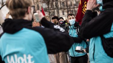 Arkiv. En gruppe Wolt-bude nedlagde arbejdet i februar som protest mod Wolts nye betalingsmodel.
