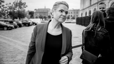 Inger Støjberg ankommer til Eigtveds Pakhus til afhøring i rigsretssagen mod hende d. 14. september 2021.