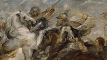 Rubens' 'Henry IV i slaget ved Ivry', hvor den franske konge vandt over den såkaldte Katolske Liga. Sidstnævnte brugte 'politique' som et skældsord, synonymt med både ateist og forræder, som Emma Claussen bl.a. fortæller i sin nye bog, der undersøger begrebet.