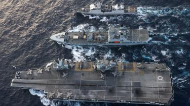 Den britiske og amerikanske flåde på øvelse – og i magtdemonstration – i Det Sydkinesiske Hav den 29. juli 2021.
