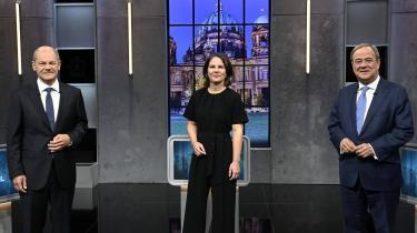 Olaf Scholz, Annalena Baerbock og Armin Laschet mødtes søndag aften til en tv-debat, som indholdsmæssigt ikke kastede så mange nyheder af sig.