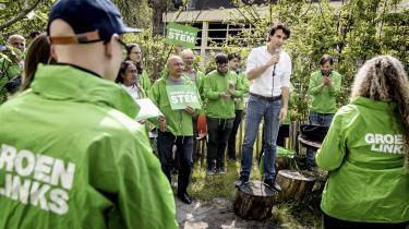 Partilederen for det hollandske miljøparti GroenLinks Jesse Klaver taler til partimedlemmerne den 18. maj 2019 under en række besøg til flere større byer for at skabe opmærksomhed om de forestående valg til Europa Parlamentet.