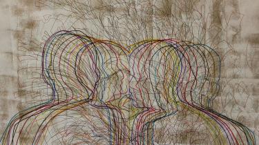 Forestillingsfoto fra Teater Momentum. Værket er af Wael Toubaji.