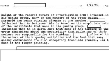 Da frygten for, at computer- og rollespil ville gøre folk voldelige, var på sit højeste, beskrev FBI i et internt notat rollespillere som 'væbnede og farlige', 'ekstremt intelligente personer' og 'overvægtige og ikke pæne i udseende'.