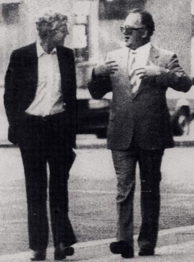 Billedet viser Arne Treholts sidste møde med KGB-generalen, Gennadij Titov. Den 20. januar 1984 blev Den 41-årige kontorchef Arne Treholt arresteret i Olsos Fornebu lufthavn på vej til et møde med Titov i Wien.