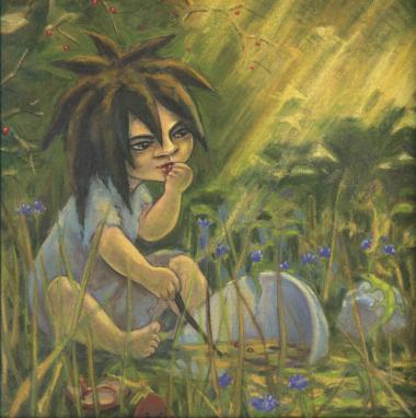 Cecilie Eken, forfatter til 'Mørkebarnet', har fulgt de seneste års mange debatter om, hvorvidt der er grænser for, hvad man kan tillade sig i en børnebog, og hun ved, at hun med en plads i den nye danske bedømmelseskomité også vil skulle deltage i den diskussion. Illustration: Malene Reynolds Laugesen/fra 'Mørkebarnet'