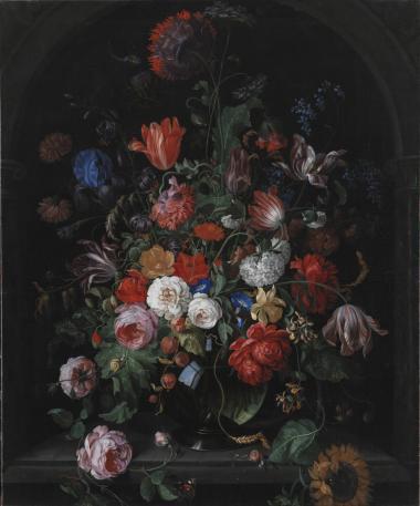 Hollænderen Hendrik Schooks 'Blomsterstykke' rummer 54 forskellige genstande, nummereret, så man kan finde dem på maleriet. Der er opiumvalmue, artiskok, syren, nellike, haveiris, morgenfrue, snebolle, jomfruskørt, påskelilje samt mange flere. Dertil en guldsmed, en admiralsommerfugl og en snegl.