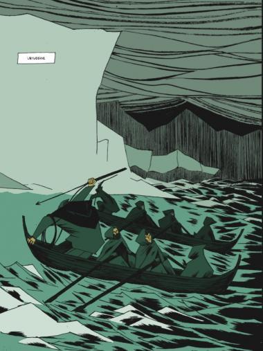'Fimbulvinter' er en saga om Erik den røde, den første nordbo, der koloniserede Grønland. Et portræt af en mand, der bliver et symbol på undergangen af den gamle orden. Illustration fra bogen