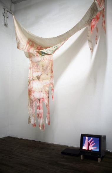 'Seepage' (på dansk 'udsivning') undersøger ideen om en utopisk sansende krop. Det er en installation bestående af to videomonitorer og en silkeskulptur. 'Seepage' blev vist på den netop afsluttede gruppeudstilling 'Gust' på Global Committee i New York. 'Seepage' Silke, nylonsnor, two channel video 2015