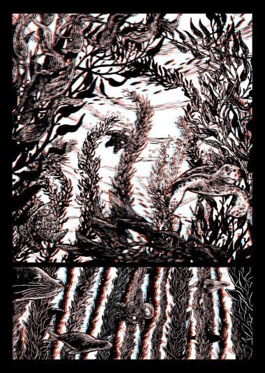 Med 3D brillen fremtræder de blå og røde streger forskudt fra originaltegningen eller konturen. Illustration fra bogen