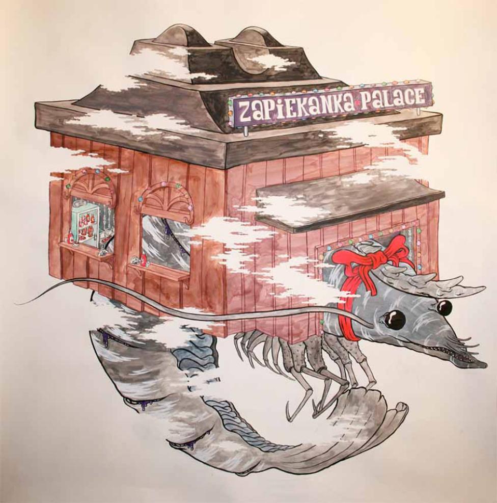 Zapiekanka palace 2009 (akvarel og tusch på papir) 112x112cm