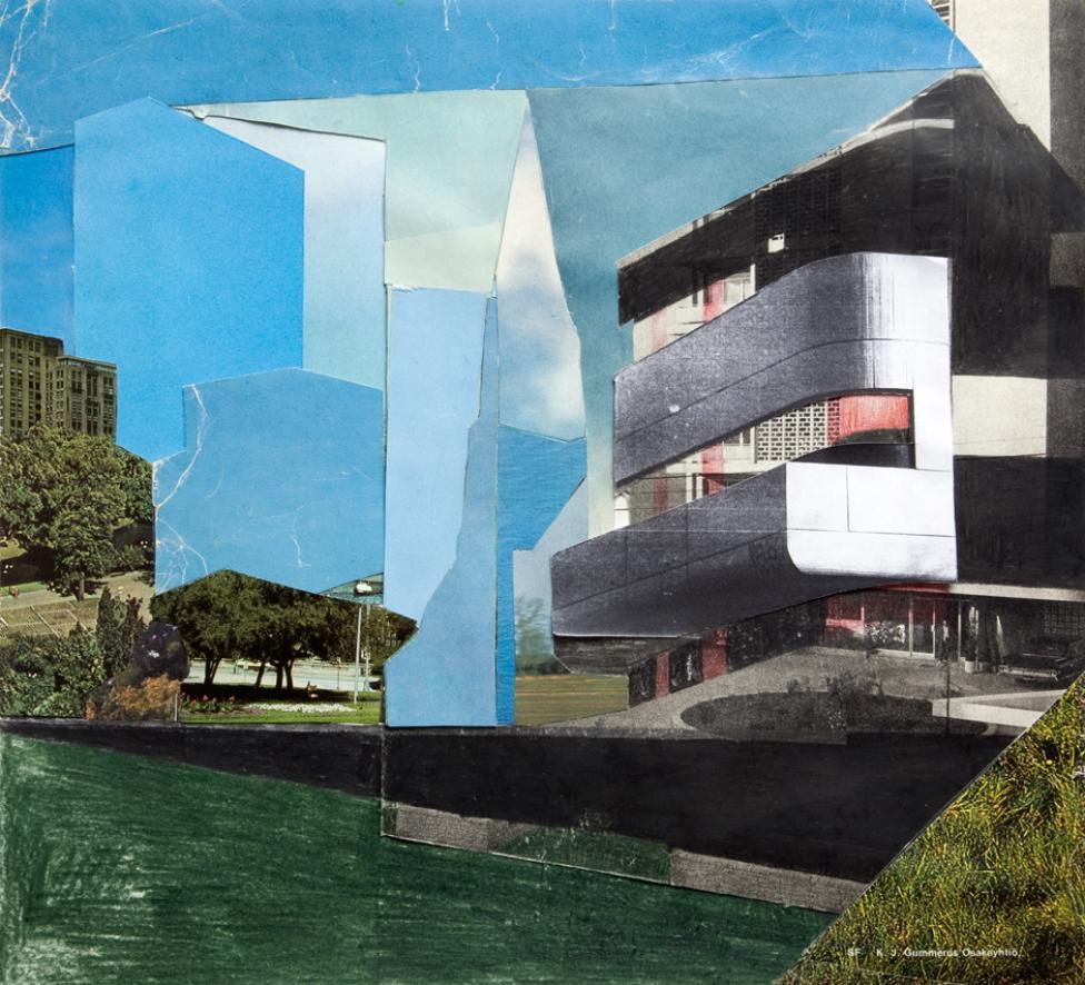 Uden titel, 29 x 26,5 cm, blyant og kollage på papir, 2010. Foto: Niels Djergvad