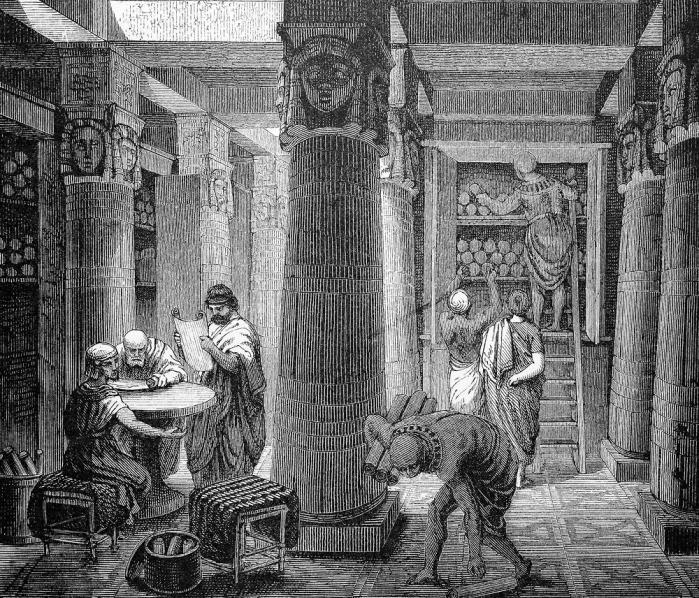Lærde i biblioteket i Alexandria. Tegning fra det 19. århundrede.