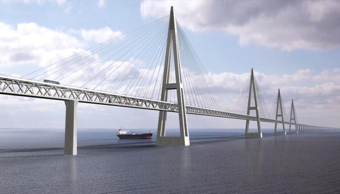 Femeren Bælt-broen vil koste Danmark mindst 42 mia. kr., mens tyskerne kun hæfter for otte-ni mia. kr. til deres landanlæg.