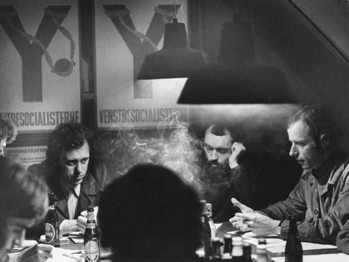 Det var kritisabelt, at PET overvågede lovlig politisk aktivitet under Den Kolde Krig, medgiver Udvalget for Forretningsordenen i Folketinget i sin beretning om PET-kommissionens rapport. Her holder bl.a. Erik Sigsgaard, Preben Wilhjelm og Steen Folke møde i Venstresocialisterne i 1974.