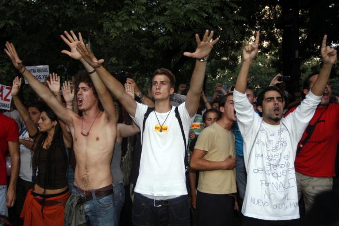 Demonstration i Spanien mod den store ungdomsarbejdsløshed.
