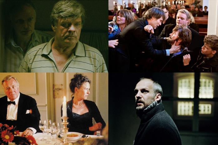 Pædofile er traditionelt blevet fremstillet som monstre i dansk film. Dog har Thomas Vinterberg flyttet fokus over på pædofilihysteriet i hans seneste film 'Jagten'. Fotos: Fra 'Himlen falder', 'Jagten', 'Festen' og 'Anklaget'