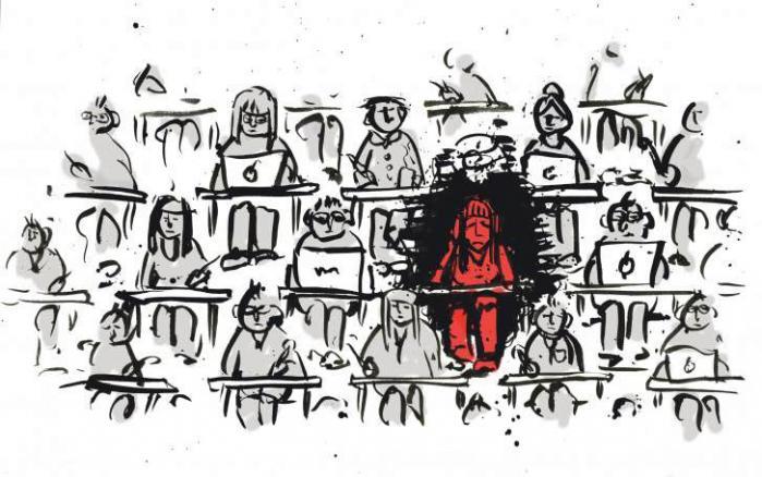 Kvinderne gør det til deres egen skyld: Hvis jeg bare stod lidt tidligere op, hvis jeg bare læste lidt mere... Det bliver til en konstant idyllisering af alle andre og en devaluering af sig selv, forklarer psykolog på Studenterrådgivningen, Mehrak Salimi. Illustration: Rasmus Fly Filbert
