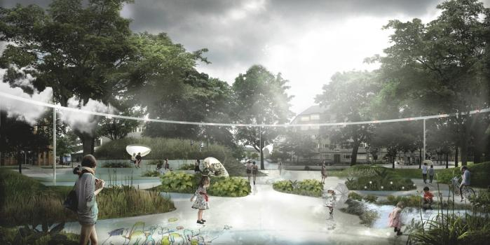 Arkitekternes vision er, at 20 pct. af kvarterets arealer skal blive grønne områder, og at 30 pct. af den regn, der falder til daglig, skal afledes lokalt – ikke via kloakken