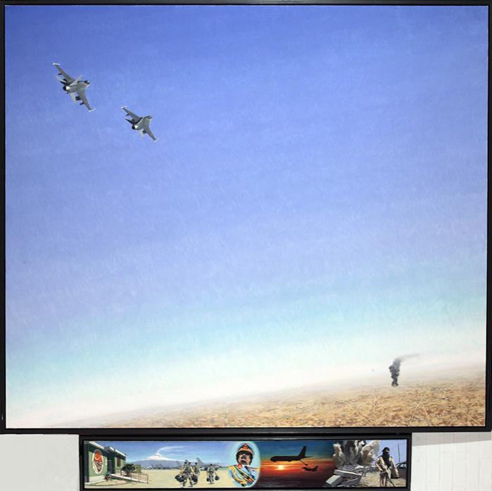 Peter Carlsens maleri af danske kampflys indsats i Libyen. Et billede som modsat Simone Kærns ikke direkte viser krigens følger for civile på jorden