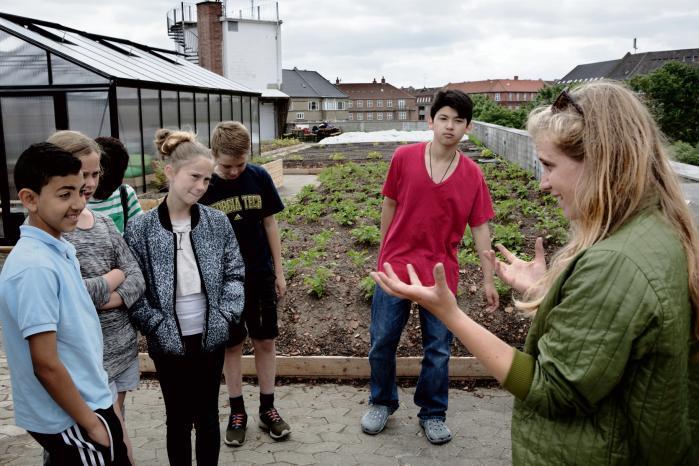 Lokale skoleelever er oppe på det 600 kvadratmeter store taglandbrug ØsterGro for at lære og se, hvordan frugt og grønt spirer frem på toppen af et bilauktionshus. Det er en af initiativtagerne Livia Urban Swart Haaland til højre.