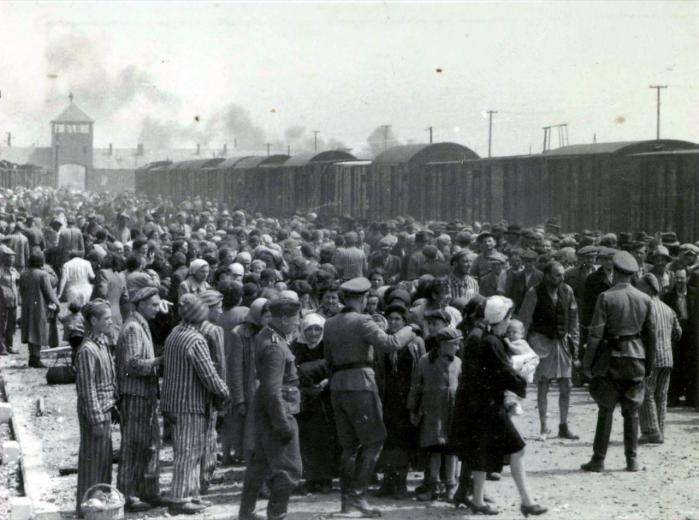 Tjekkiske jøder ankommer til udryddelseslejren Auschwitz i Polen i sommeren 1944. Begge bøgers hovedpersoner overlevede Holocaust