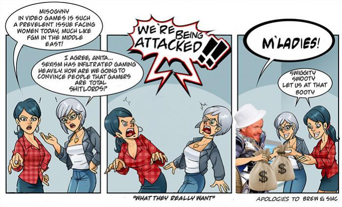 Anita Sarkeesian og Zoe Quinn er blevet kritiseret og angrebet, og er nu også ofre for en satirisk tegne-serie, hvori de taler oprørt om problemet med nedgørelsen af kvinder i computerspil. Men de er ifølge den tegnede stribe angiveligt til salg for ussel mammon.