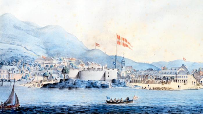 Litografi af havnen i Christiansted på St. Croix midt i 1800-tallet