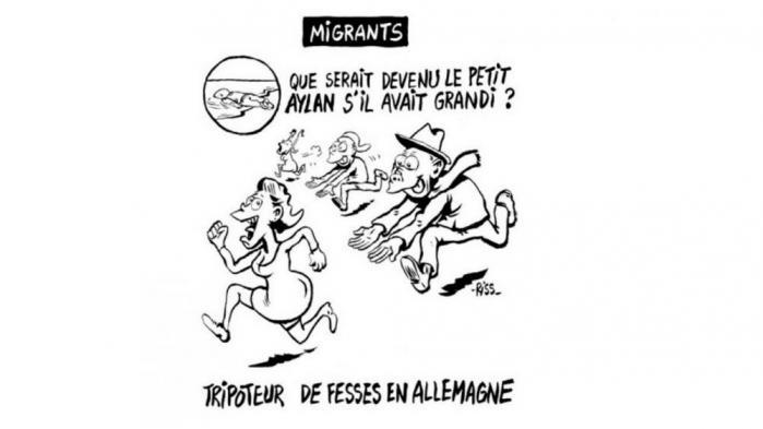 'Hvad ville der være sket, hvis Aylan var blevet stor?', spørger Charlie Hebdo og svarer: 'Numsegramsere i Tyskland'.Tegning: Laurent 'Riss' Sourisseau, chefredaktør på Charlie Hebdo