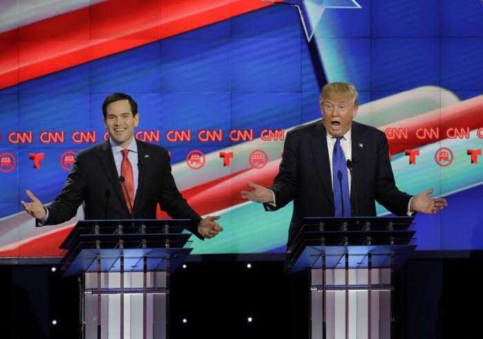 Marco Rubio (t.v.) gik til angreb på Donald Trump i republikanernes tv-debat i Texas.