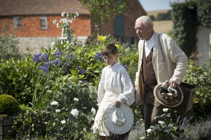Husholderskens søn, Roger (Milo Parker), hjælper 93-årige Sherlock Holmes (Ian McKellen)med at passe bier og huske fortiden i Bill Condons fremragende 'Mr. Holmes'. Foto: Cinemateket