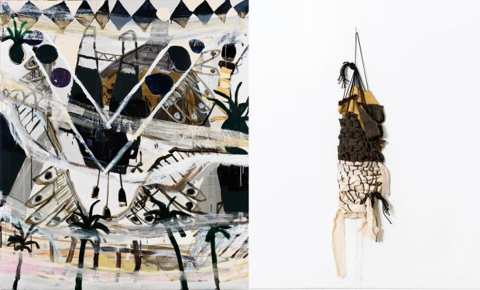 'Palms, ship, towers', akryl på lærred, 150x130 cm, 2016 og 'Two layer weaving', stof og snor, 2016
